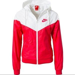 Women's Red and White Nike Wind Breaker